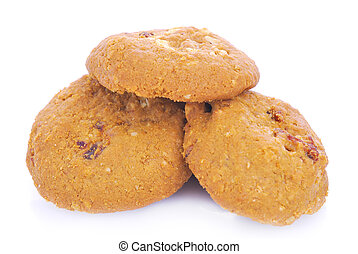 Oatmeal cookies with raisin on a white background