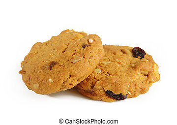 Oatmeal cookies with raisin on white