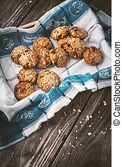 Oatmeal cookies with raisins in a box