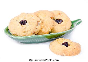 Oatmeal cookies with raisins.