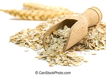 Oatmeal flakes and scoop - Oatmeal flakes with wooden scoop...
