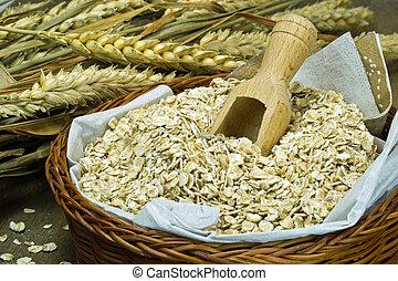 Oatmeal flakes in basket