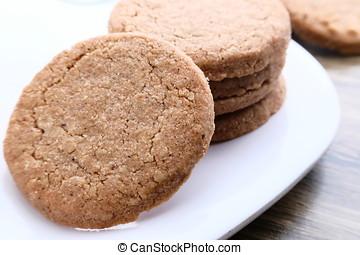Oatmeal handmade cookies with honey on plate