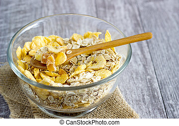 Oatmeal in a glass bowl on the table