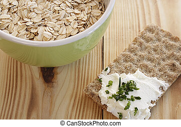 Oatmeal in a green bowl