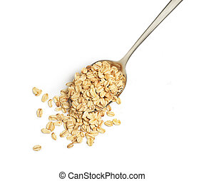 oatmeal in a spoon on a white background