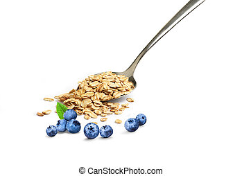 oatmeal in a spoon on a white background with blueberries