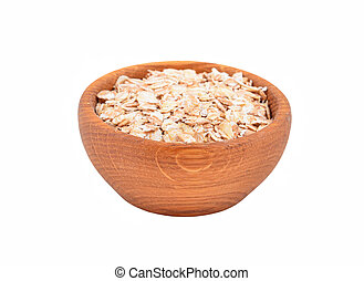 Oatmeal in a wooden bowl, isolated on white background