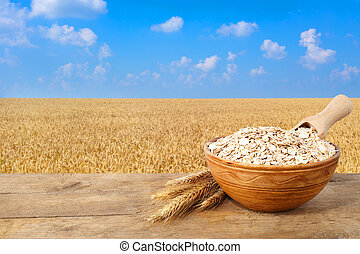 oatmeal in bowl with field on the background