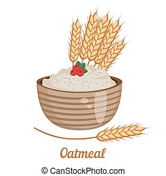 Oatmeal isolated on white backgroun - Vector illustration of...