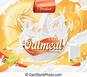 Oatmeal. Oat grains and milk splashes. 3d realistic vector,...