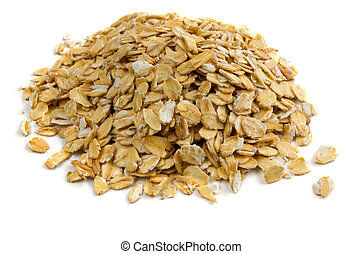 Oatmeal  - Pile of porridge oats isolated on white