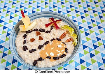 Oatmeal porridge decorated with a fruity treasure map - ...
