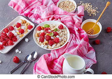 oatmeal porridge in a white bowl