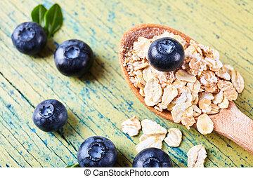 oatmeal porridge with blueberry.