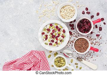 Oatmeal porridge with ingredients