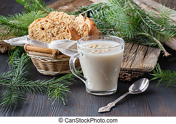oatmeal porridge with milk - healthy breakfast