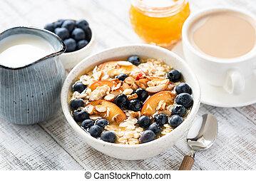 Oatmeal Porridge With Peach, Blueberry