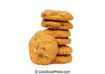 Oatmeal raisin cookie isolated on a white background