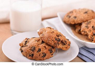 Oatmeal raisin cookies and milk