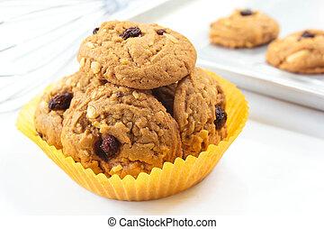 Oatmeal raisin cookies. - Freshly delicious baked oatmeal...