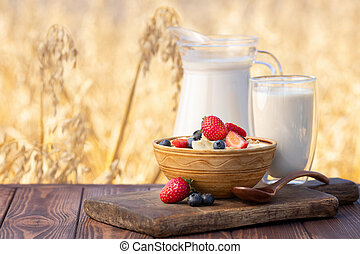oatmeal with berries and field