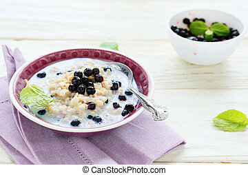 oatmeal with berries, food