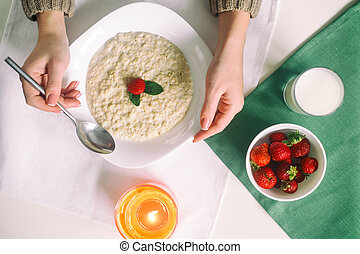 Oatmeal with milk. Porridge with milk. Cereals, delicious...