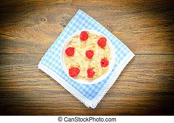 Oatmeal with Raspberries. Classic Breakfast