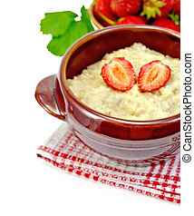 Oatmeal with strawberry on a napkin