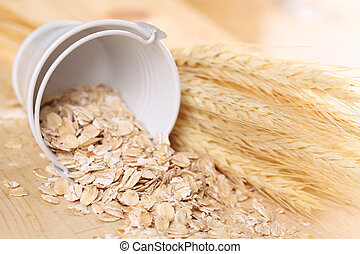 Oats - Close-up of a small bucket with oats