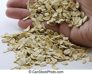 Oats - Hand holding oats, with outs laying in a pile