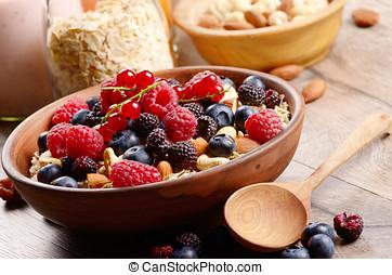 Oats nuts berries yogurt