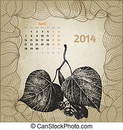 oavgjord, bladen, träd, hand, april, penna, artistisk, bläck, 2014, kalender, lime
