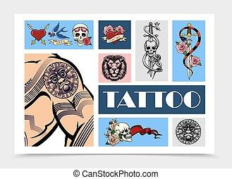 oavgjord, elementara, sätta, hand, tatuera