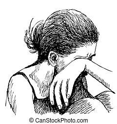 oavgjord, flicka, trist, hand