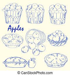 oavgjord, hand, äpplen, ikonen