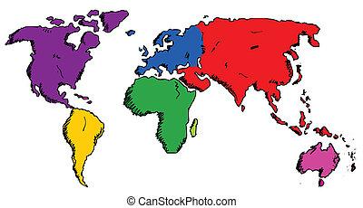 oavgjord, hand, världen kartlägger
