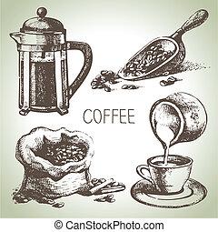 oavgjord, kaffe satte, hand