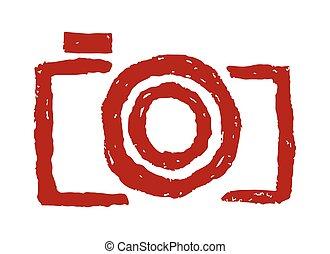 oavgjord, kamera, hand, ikon
