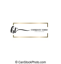 oavgjord, mall, logo, vektor, ht, initial, brev, hand, ...