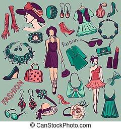 oavgjord, mode, kollektion, skönhet, hand