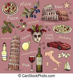 oavgjord, sätta, italien, hand, ikonen