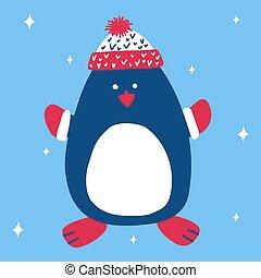 oavgjord, suitable, snöflingor, hälsning, rynkat, hatt, eller, hand, söt, kort, baner, tumvante, pingvin, jul, illustration, vektor, blå, skandinav, bakgrund, style.