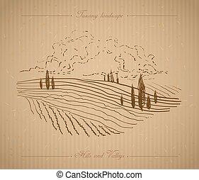 oavgjord, toskana, landskap, illustration, hand