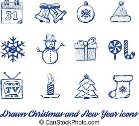 oavgjord, vectpr, sätta, jul