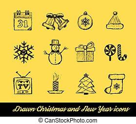 oavgjord, vektor, sätta, jul