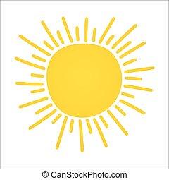 oavgjord, vektor, sun., shinny, hand