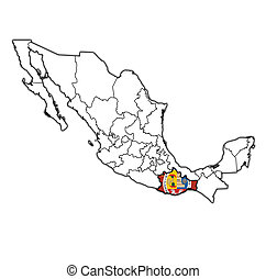 Chiapas on administration map of mexico Emblem of chiapas stock
