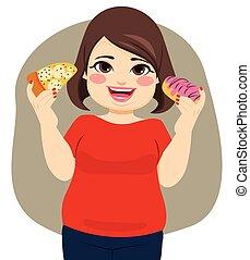 obèse, femme mange, heureux
